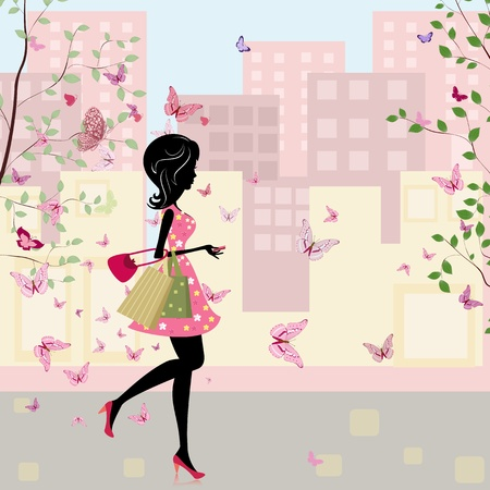 girl with shopping in the spring Vector