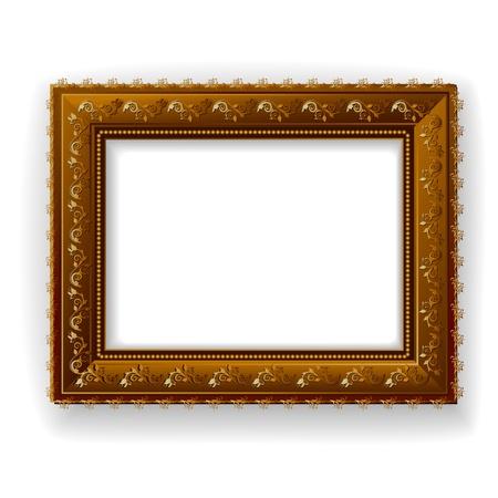 bilderrahmen gold: Wooden vintage frame isoliert Illustration