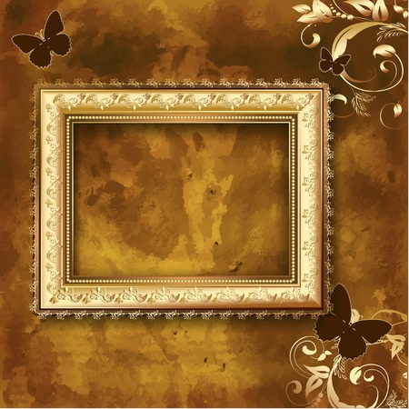 gold frame: Golden picture frame on the grunge wall Illustration
