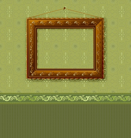 Wooden picture frame on the wall with wallpaper Stock Vector - 11040944