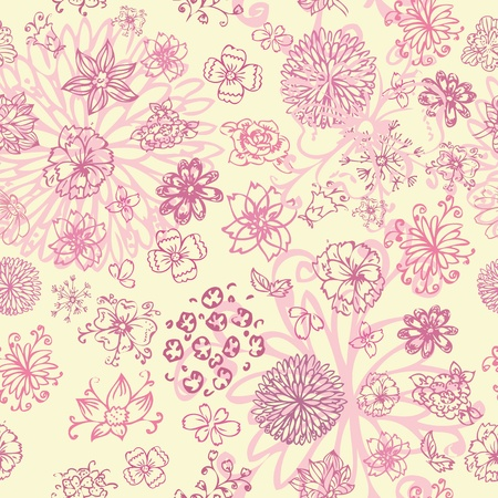 flowers hand drawing seamless Vector