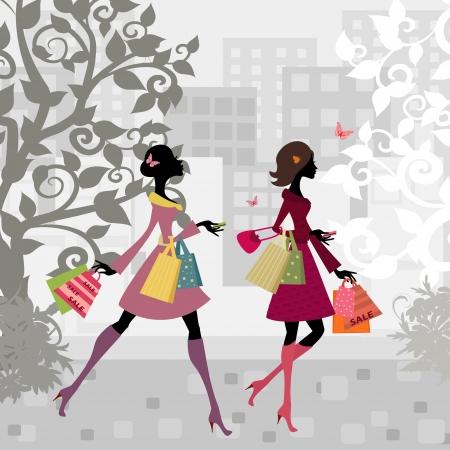 fashion shopping: Ni�as caminando por la ciudad con las compras Vectores