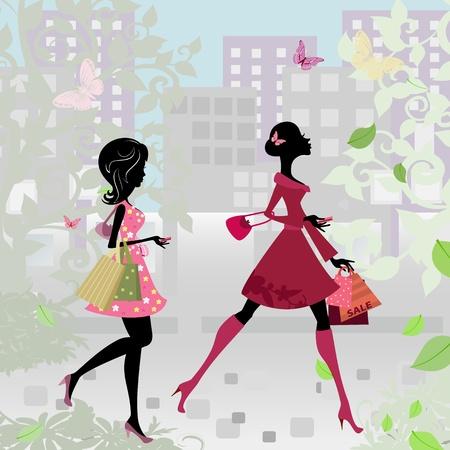 donna farfalla: Le ragazze camminare per la citt� con negozi