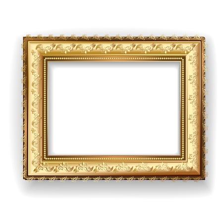 Marco de madera de época de oro Ilustración de vector