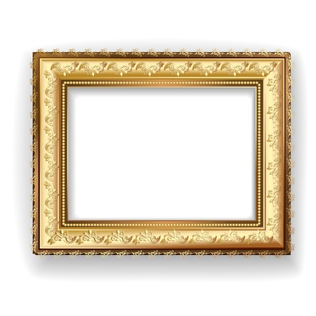 picture frame on wall: Wooden vintage gold frame