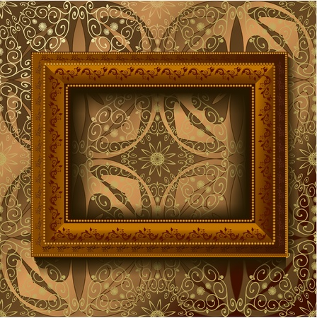 picture frame on wall: Wooden vintage frame