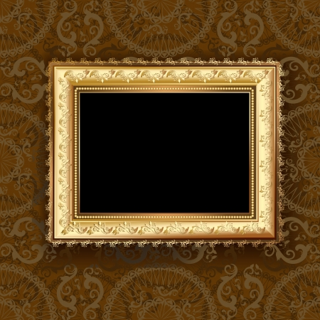 art gallery interior: Wooden vintage gold frame