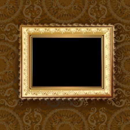 old picture frame: Wooden vintage gold frame