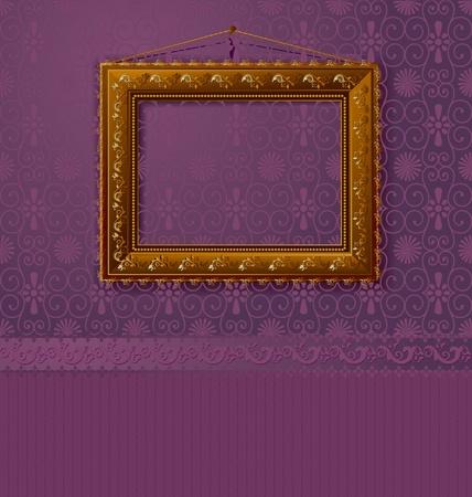 bilderrahmen gold: Holzrahmen mit einem Oldtimer-Gold an der Wand Illustration