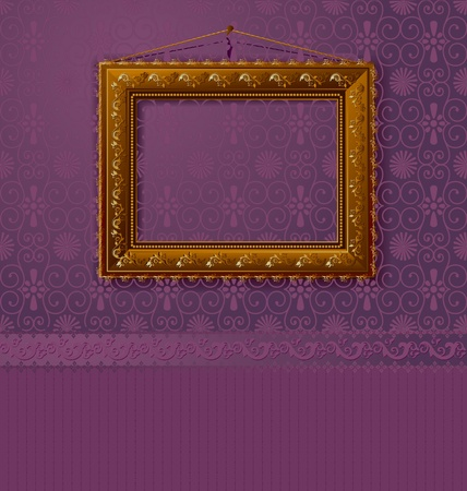 baroque picture frame: wooden frame with a vintage gold on the wall