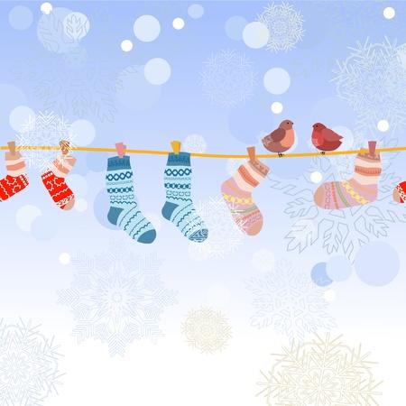 laundry line: Las aves en la v�spera de la Navidad Vectores