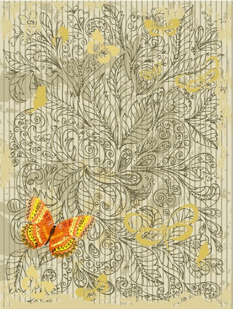 abstract grunge design with butterflies Vector