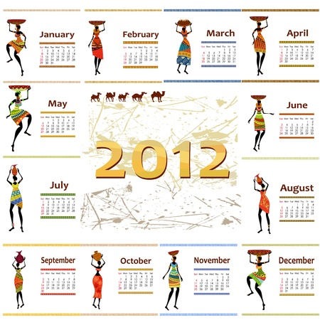 calendar 2012 with africa woman Vector