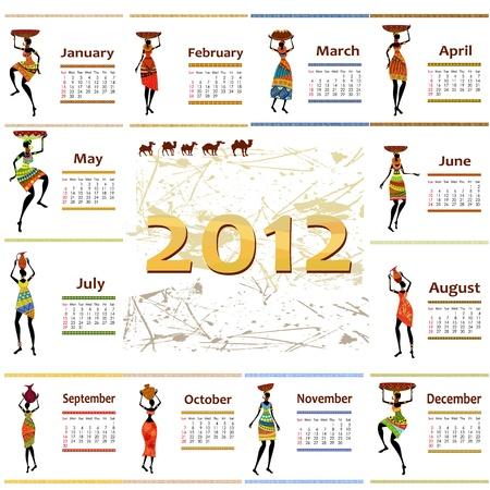 calendar 2012 with africa woman Vector