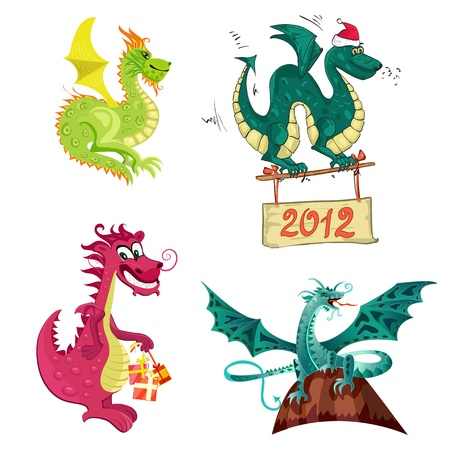 New Year's dragon collection Vector