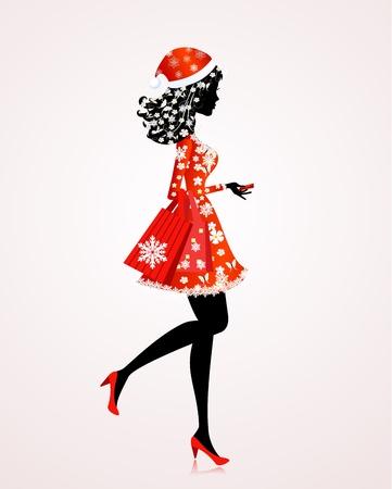 Santa Girl mit Geschenken und Shopping Illustration