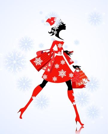 wintermode: Santa Girl mit Geschenken und Shopping Illustration