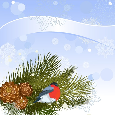 Bird on a branch from a pine cone Vector