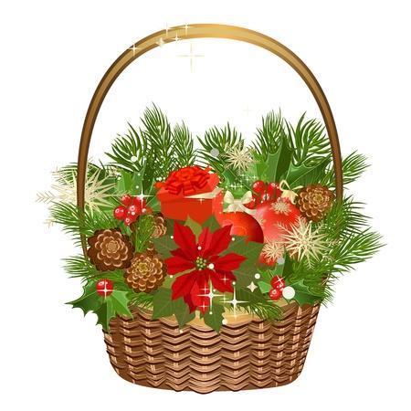 giftbasket: Cadeau mand met bloemen en Kerstmis speelgoed Stock Illustratie