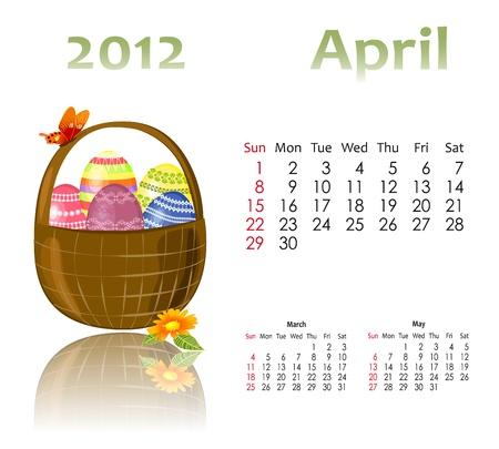 calendar 2012 with baskets Stock Vector - 11419782