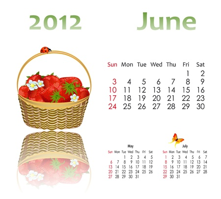 calendar 2012 with baskets Vector