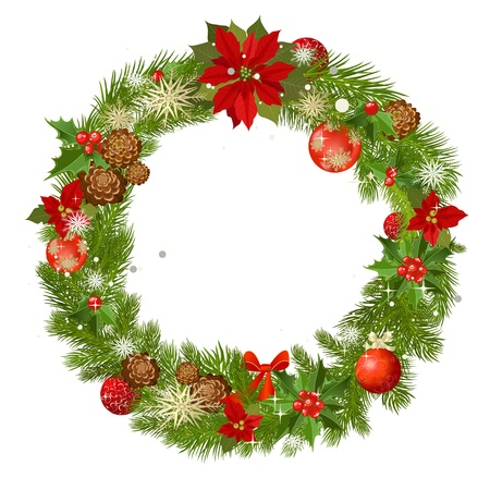 poinsettia: Christmas garland vector frame