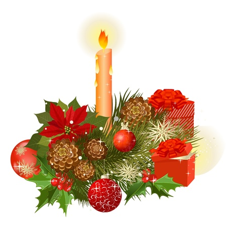 Designer Christmas gifts and a bouquet of flowers with Vector