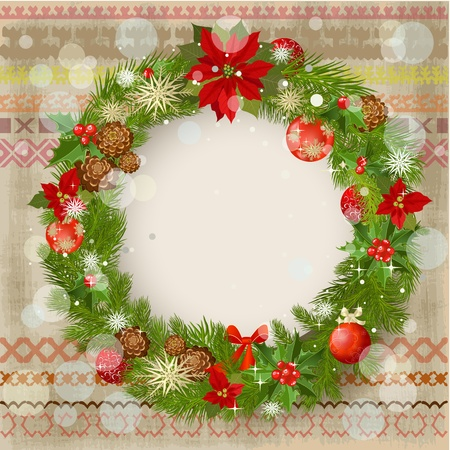 Christmas ornament on a patterned background grunge Vector