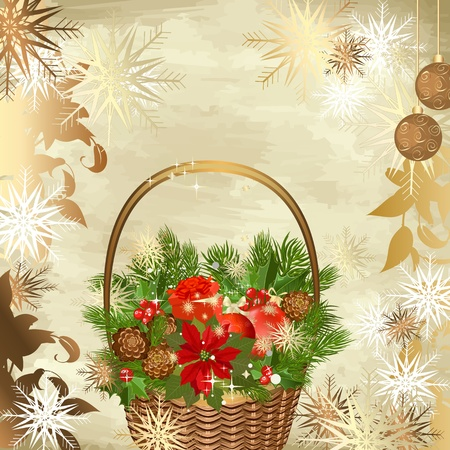 Christmas decoration basket with gifts Vector