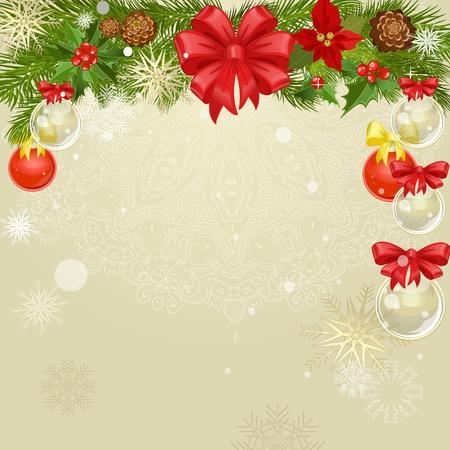 flor de pascua: Marco de la Navidad con el verde con copos de nieve Vectores