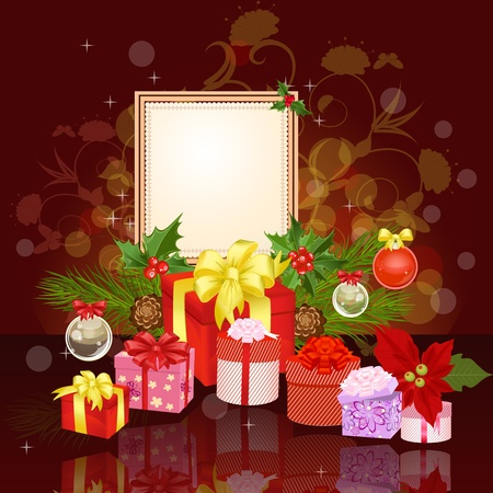 Christmas ornament frame with gifts Stock Vector - 11528114