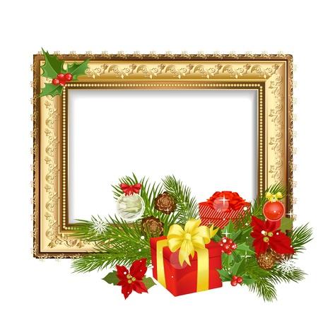 flor de pascua: Marco de la Navidad con los regalos de adorno