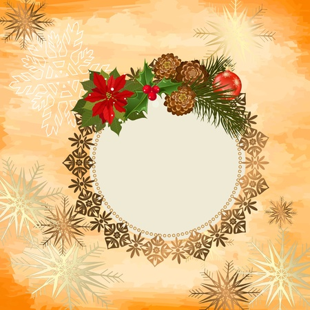 ornamental openwork Christmas Frame Vector
