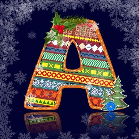 write abc: Carta de invierno con un adorno Vectores