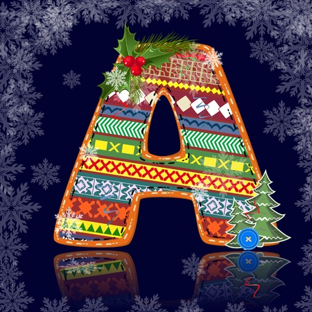 write abc: Winter letter with an ornament