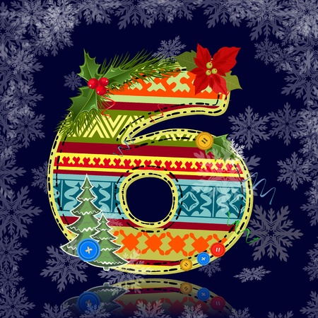 Winter number letter with an ornament Vector