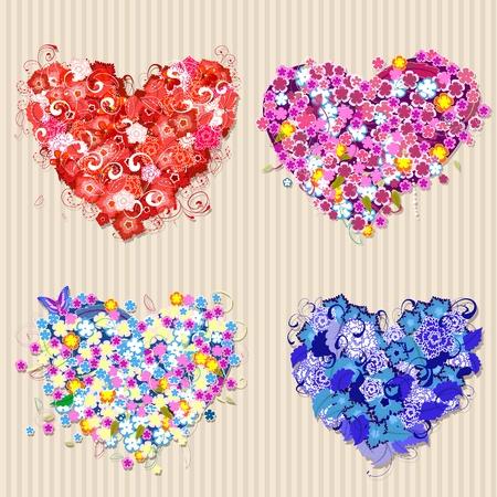 Set of floral vintage valentines Stock Vector - 11864283