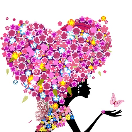 Girl with flowers on her head in the shape of a heart Vector