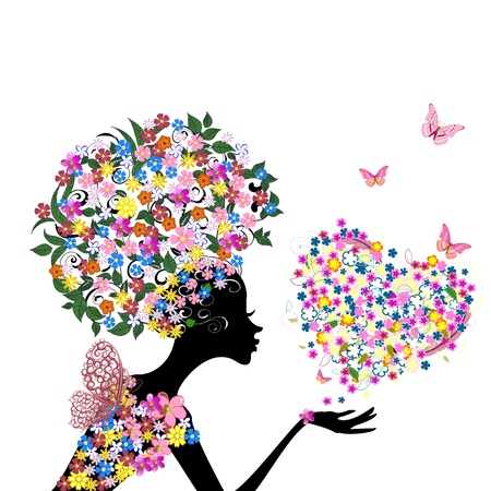 butterfly woman: Girl with flowers on her head with a valentine Illustration