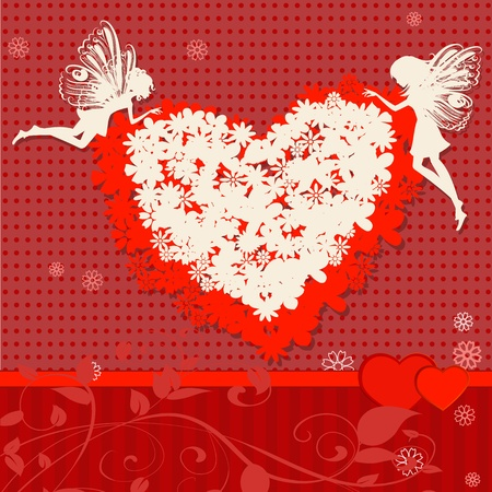 Valentine Flower with the fairies Stock Vector - 11864276
