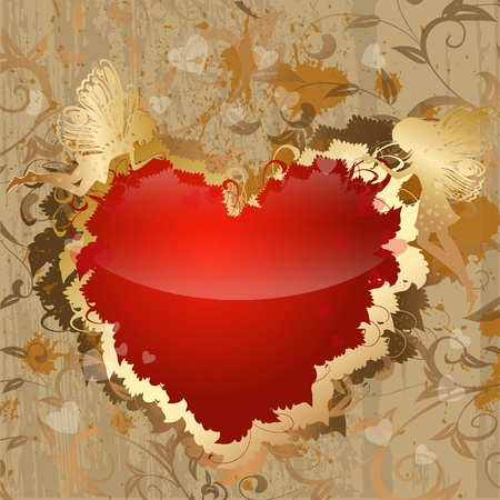 Red and gold Valentine with the fairies Vector