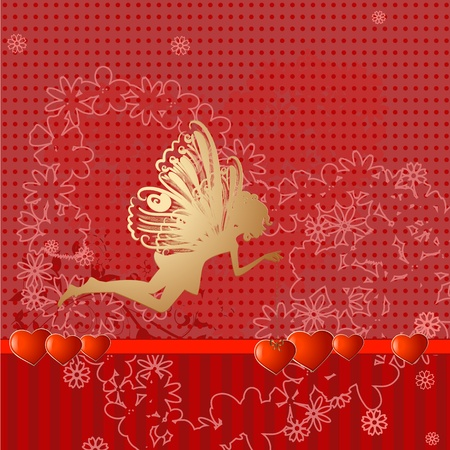 Red retro valentine fairy Vector