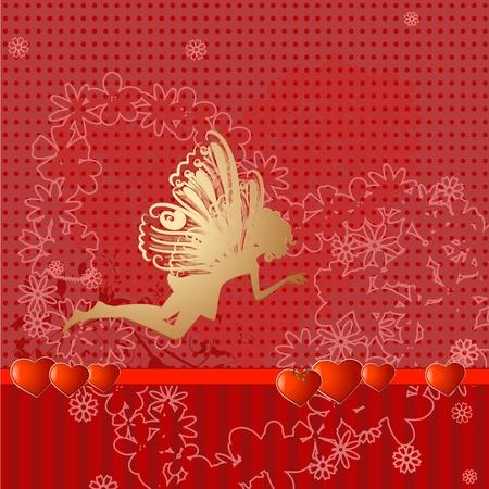 Red retro valentine fairy Vector