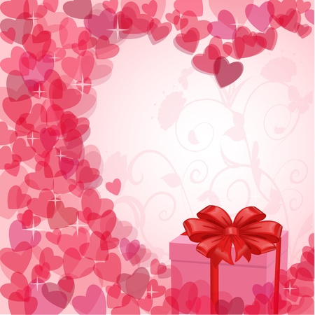 vintage valentine card with a gift Vector