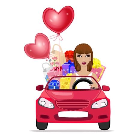 Woman with car air valentines Stock Vector - 11994136