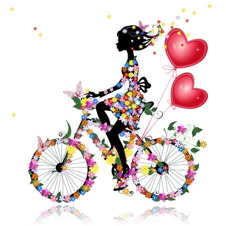 Bloemenmeisje fiets met lucht valentines Stock Illustratie