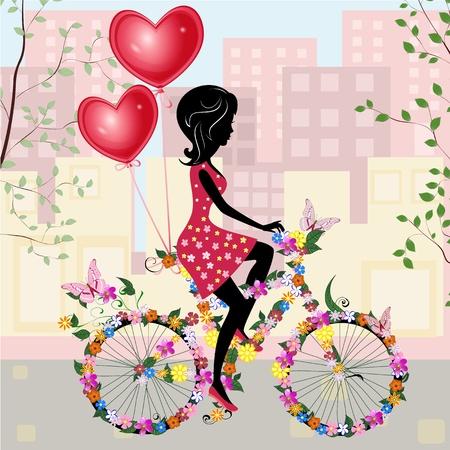 Bloemenmeisje fiets met lucht valentines Stockfoto - 11994141