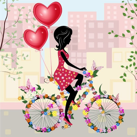 Flower girl bike with air valentines Stock Vector - 11994141
