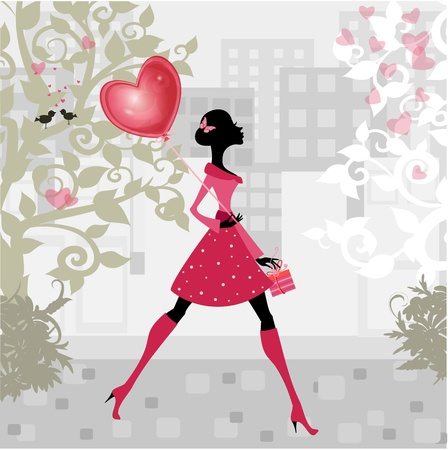 Girl with a valentines balloon Stock Vector - 11994130