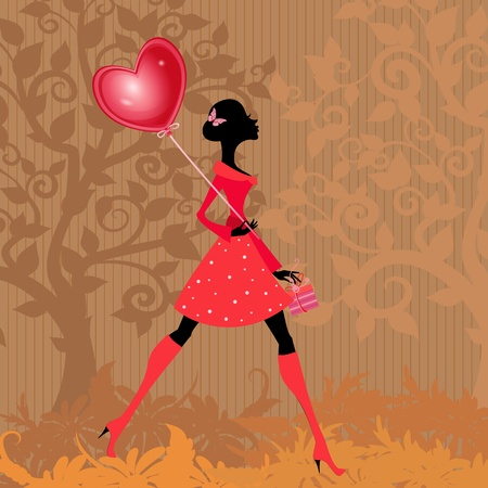 Girl with a valentines balloon Vector
